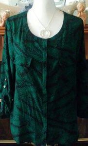 Anne kline shirt large long sleeves front pockets